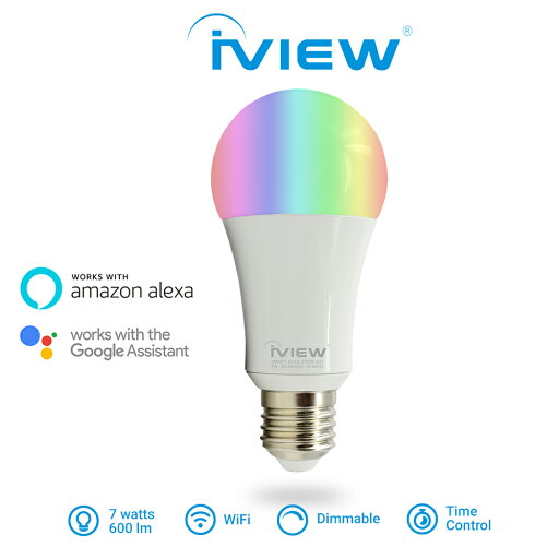 ISB600 - Affordable 7W, 600lm, 85V - 265VAC 50/60Hz, E27/E26 Smart Multi-Color LED WiFi Light Bulb with Wireless Remote App Control from Anywhere, No Hub Required, Amazon Alexa and Google Assistant Compatible