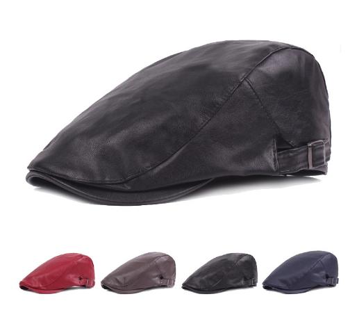 98bcb2daffa Hats Solid Leather Beret Hats PU Flat Berets Cap Mens Beret Winter  Adjustable 0