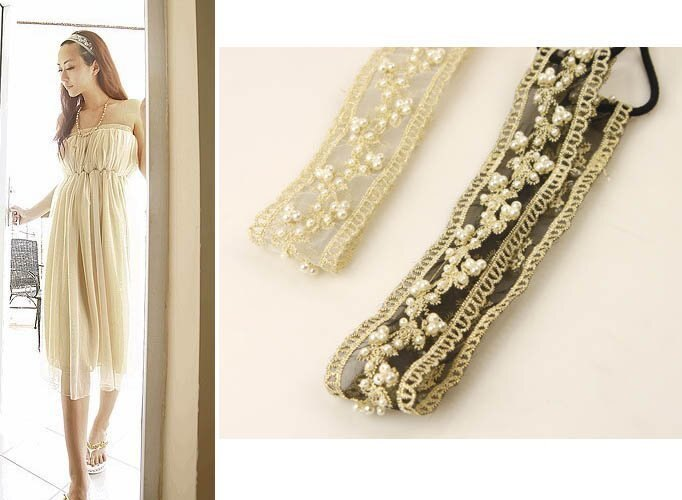 ~草魚妹~H591髮帶 縫製珍珠蕾絲串珠飾品髮帶髮箍髮圈髮束髮飾,售價150元