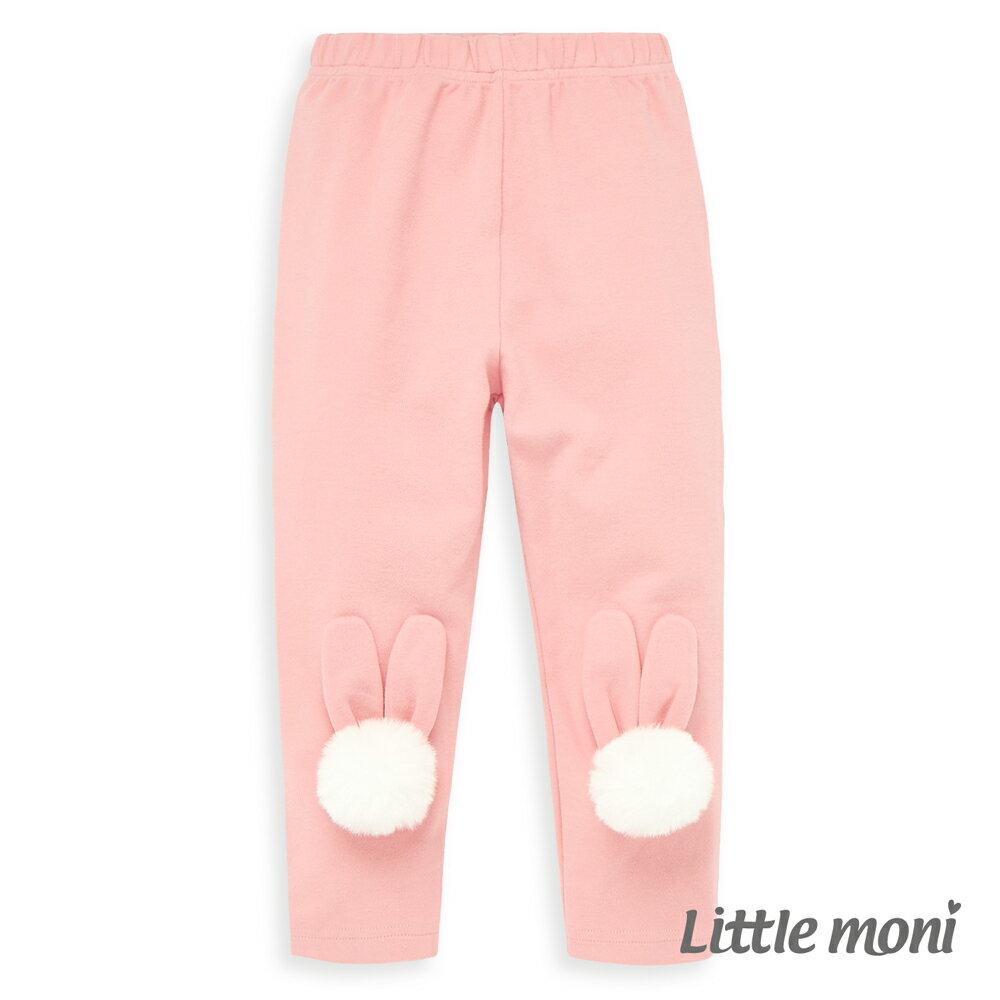 Little moni 立體毛球兔耳造型合身褲-粉紅 0
