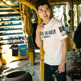 『 One Boy 』【N60221】春款跳色字樣短袖T恤