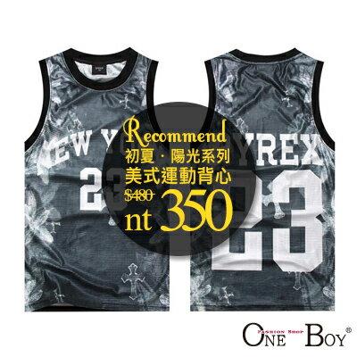 『 One Boy 』【NN3277】紐約23號PYREX印花設計彈性網狀排汗球衣背心