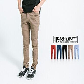 《全店399免運》『 One Boy 』【N91262】後口袋皮標素面水洗窄版休閒長褲 5色/5size