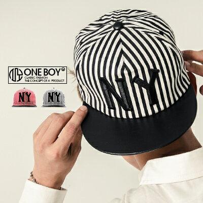 《全店399免運》『 One Boy 』【NU3011】撞色系條紋電繡NY棒球帽