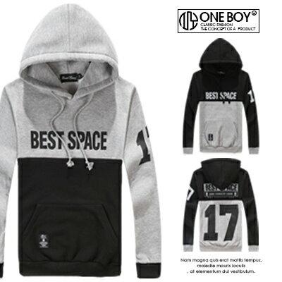 『 One Boy 』【NJ0496】簡約17號字樣上下拼接造型大學連帽TEE