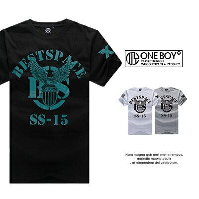 『 One Boy 』【N55011】極簡斑駁字樣壓印老鷹短袖T恤