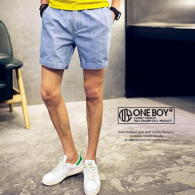 《全店399免運》『 One Boy 』【N2131】簡單生活詮釋無印感牛仔短褲