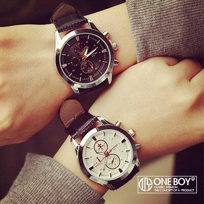『 One Boy 』【N308071】亮感金屬三眼造型仿鱷皮錶帶手錶