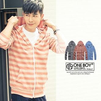 『 One Boy 』【N73975】復古滿版條紋設計休閒外套