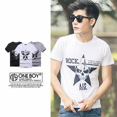『 One Boy 』【N35023】潮感星框內圖樣造型短袖T恤