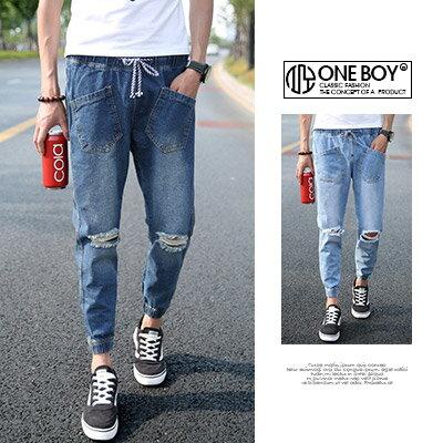 《全店399免運》『 One Boy 』【N51321】終極抓破束繩海軍風單寧縮口褲