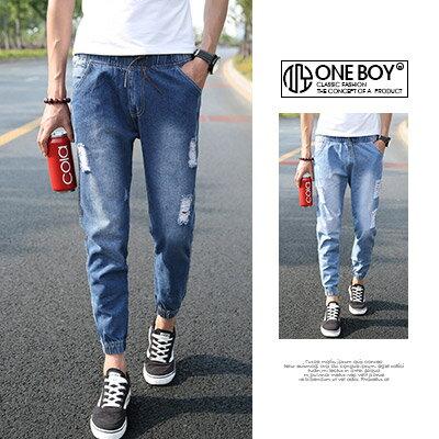 《全店399免運》『 One Boy 』【N51322】街頭破壞感束繩單寧休閒縮口褲