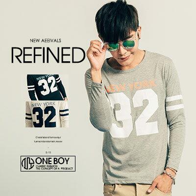 『 One Boy 』【N20015】新秋著跳色感運動數字長袖T恤