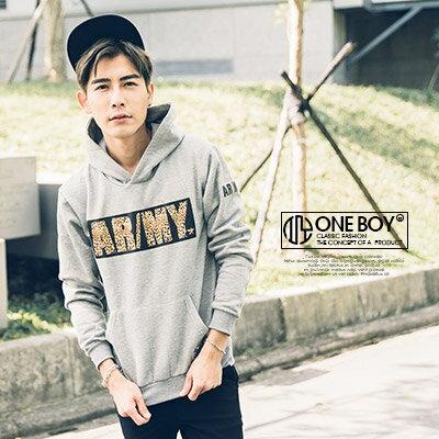 『 One Boy 』【N22221】百搭率性ARMY字母燙豹紋色塊連帽T恤