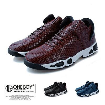 『 One Boy 』【R2589】時尚不羈魅力響尾蛇紋運動休閒鞋