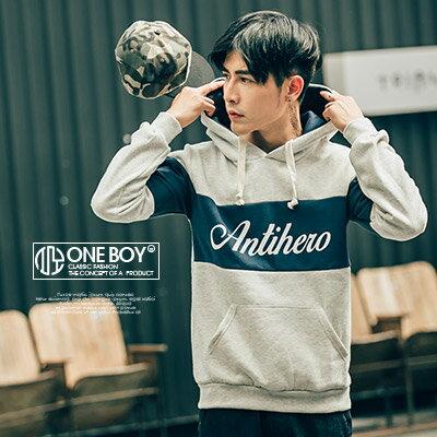 『 One Boy 』【N11395】運動風色塊拼接字母印花刷毛連帽T恤
