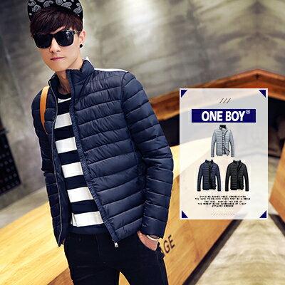《全店399免運》『 One Boy 』【N59013】秋冬新作素面類輕羽絨防寒保暖外套
