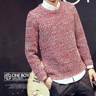 『 One Boy 』【N22507】秋冬色系麻花針織款修身剪裁長袖毛衣