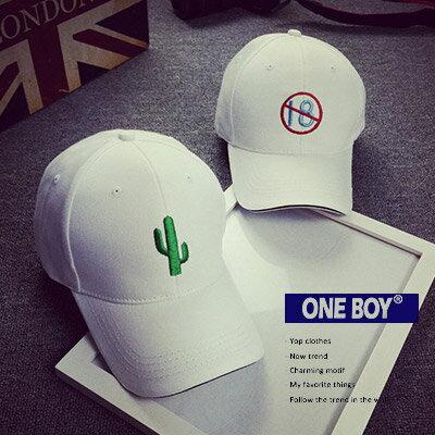 ~ One Boy ~~NU1660~白色簡約 卡通圖樣休閒棒球帽