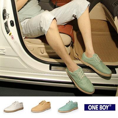『 One Boy 』【R80065】手工車線造型花雕內斂圖樣休閒鞋