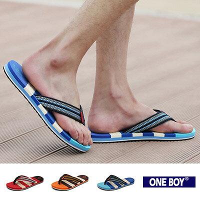 ~全店399~~ One Boy ~~R80071~ YOUNG感海灘休閒夾腳拖鞋