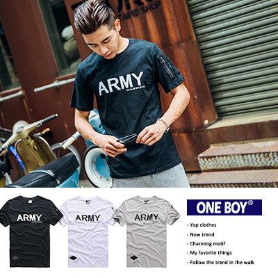 『 One Boy 』【N7030】美式硬派軍裝布標休閒設計款短袖T恤