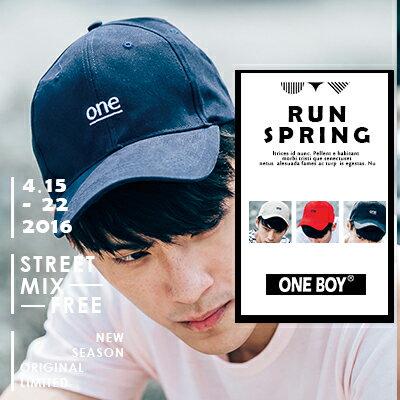 『 One Boy 』【NU5090】簡約基本款one字樣刺繡休閒棒球帽