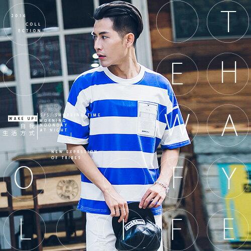 『 One Boy 』【N828】真夏繽紛亮系條紋圖案寬鬆短袖T恤
