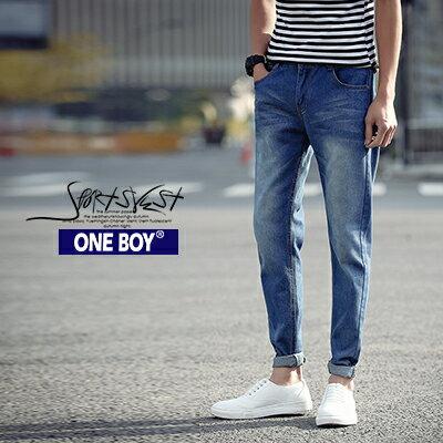 『 One Boy 』【N66154】春夏FIT極簡刷白無印感休閒單寧長褲