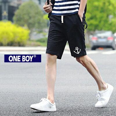 『 One Boy 』【N51218】暖男系海軍船錨圖樣設計束繩休閒短褲