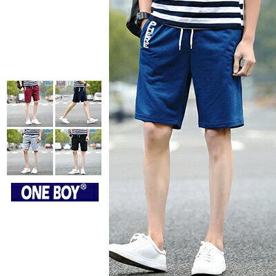 『 One Boy 』【N51219】側邊英文字樣印花設計束繩休閒短褲