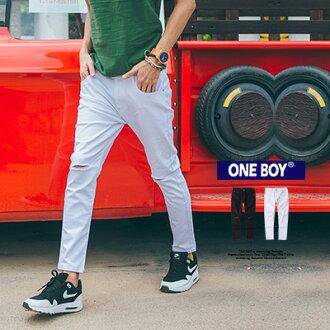 『 One Boy 』【O160508】原創古著慵懶素面刀割破壞丹寧長褲