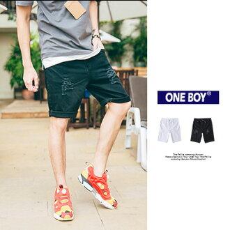 『 One Boy 』【O160512】經典新古著刀割破壞三角環單寧短褲