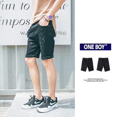 《全店399免運》『 One Boy 』【O160514】春夏新作窄版簡約潑墨感單寧短褲