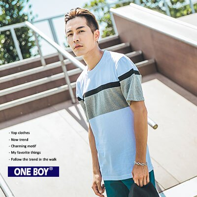 『 One Boy 』【N3962】內斂感穿搭拼接色休閒棉質短袖T恤