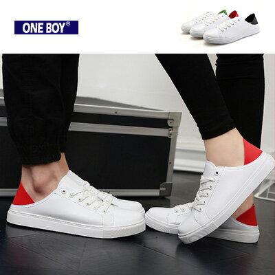 『 One Boy 』【R7320】色塊拼接設計素面綁帶休閒鞋