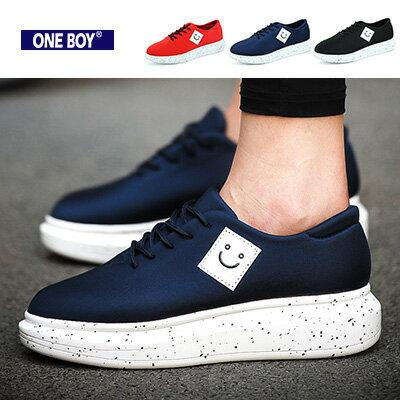 『 One Boy 』【R7321】框內笑臉圖樣鞋墊潑墨休閒鞋