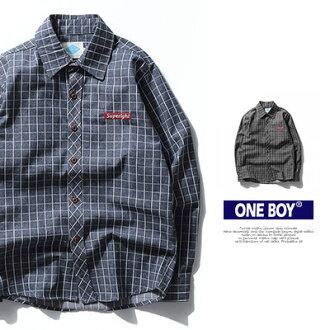 『 One Boy 』【N51900】潮流格紋品牌極致休閒長袖襯衫