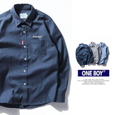 ~全店399~~ One Boy ~~N51906~無印系字母刺繡小口袋休閒長袖襯衫
