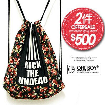 ~ 2件↘ 500~~ One Boy ~~N99001~ROCK黑條滿版小碎花束口袋