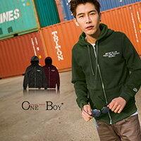 『 One Boy 』【OB022302】OneBoy原創質感詮釋極簡字樣設計概念百搭連帽外套 2色/5size