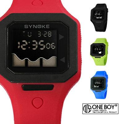 『 One Boy 』【N67766】四方造型撞色鏡面果凍電子腕錶