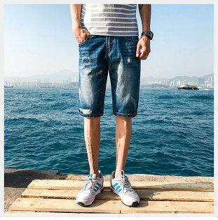FINDSENSEH12018夏季牛仔短褲男五分褲中褲百搭潮藍色牛仔褲