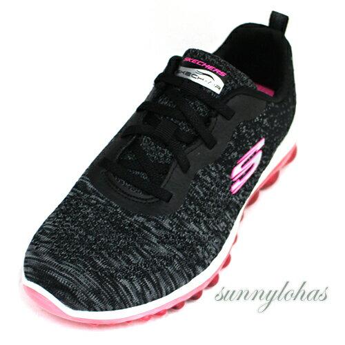 SKECHERS(女)SKECH-AIR系列氣墊運動鞋健走鞋免綁帶避震-12218BKHP黑[陽光樂活]