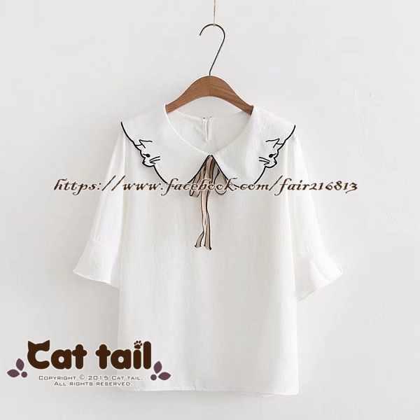 《貓尾巴》TS-0794日系娃娃領荷葉滾邊短袖襯衫(森林系日系棉麻文青清新)