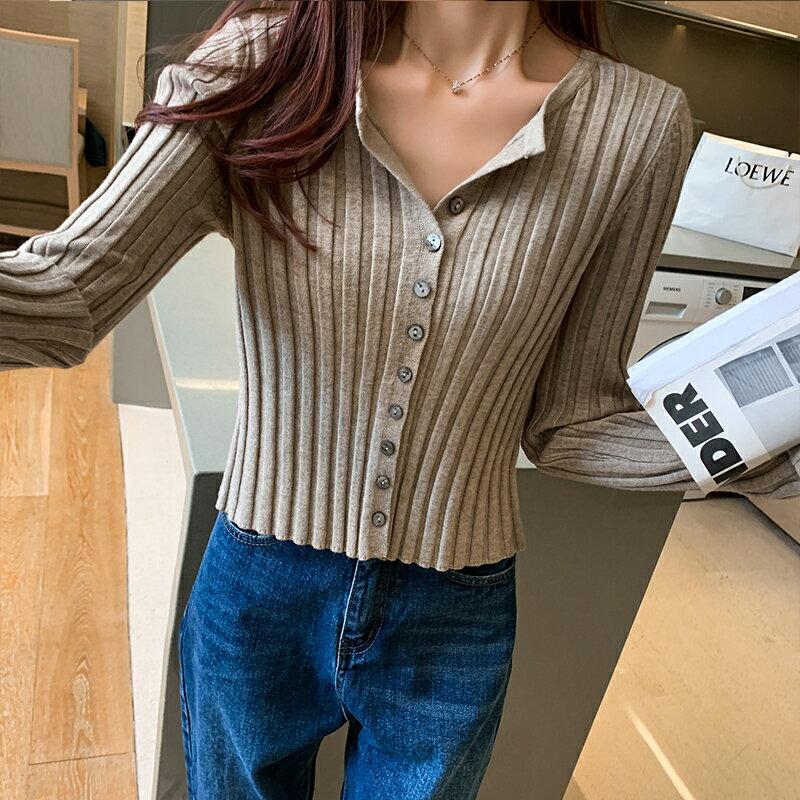 短款針織打底衫女韓版紐扣坑條毛衣開衫外套上衣年秋冬裝新款