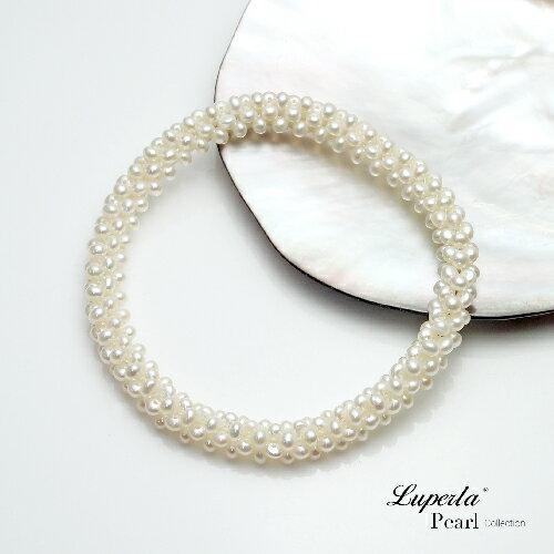 大東山珠寶 浪漫純白 天然珍珠手環 歐美古典編織珠寶 1