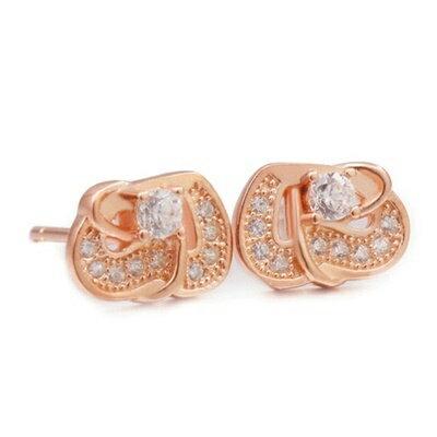 925純銀耳環鑲鑽耳飾~簡潔亮眼典雅 母親節生日情人節 女飾品2色73dm246~ ~~米