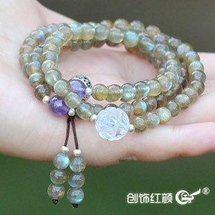 月光石佛珠手鏈 月光石108顆佛珠多層多圈銀手鏈 極品