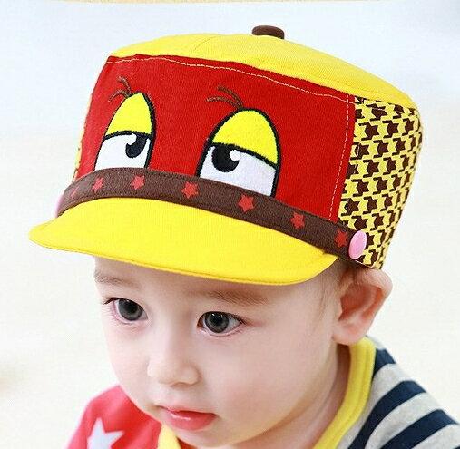 Lemonkid◆趣味俏皮卡通大眼睛星星滾邊千鳥格造型兒童帽-黃色帽檐